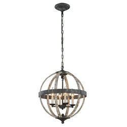 CHANDELIER STEEL GREY WROUGHT IRON IVORY WASH KITCHEN DINING ROOM 4 LIGHT 22quot; $594.34