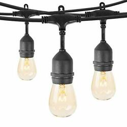 48 Feet Outdoor String Lights with 15 Hanging Sockets and S14 Edison 1 Pack $50.34