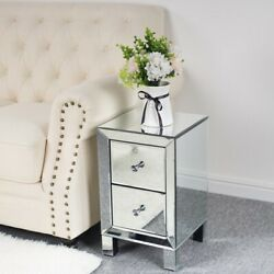 Mirrored End Table 2 Drawers Mirror Accent Side Table Silver Finished Nightstand $106.89