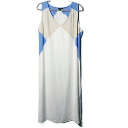 For Cynthia White Linen Maxi Dress XL Size Blue Cream Midi Summer Casual $38.00