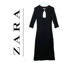 Zara Knit Solid Black Maxi Dress Long Sleeve Bodycon 100% Cotton Stretch SMALL $45.00