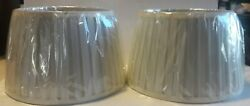 Pair of Large Cream Colored Pleated Fabric Lamp Shades $21.99