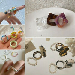 Multi color Geometric Pearl Resin Acrylic Finger Rings Simple Ring Party Women $1.38