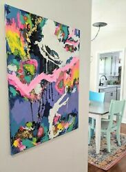 original acrylic painting abstract style. Impressionist style modern art large $155.00