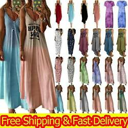 Women Boho Summer Holiday Long Strappy Sling Dress Maxi Sundress Party Plus Size $14.91