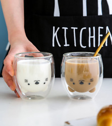 Double Wall Cat Glass Cup For Tea Coffee Milk 375 ml Cute Cat Coffee Cup $13.99