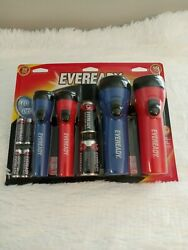 Energizer eveready black blue red led flashlight AA and D battery $14.00