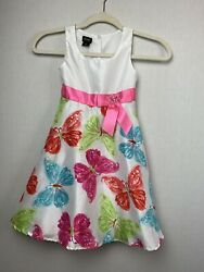 Holiday Editions Dress Spring Butterflies And Bow Party Girls Size 6 6X $10.00