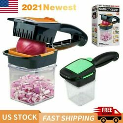 NutriChopper Food Chopper amp; Dicer w 3 Stainless Steel Blades amp; Container New