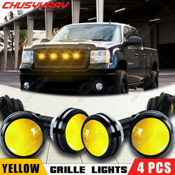 4pc LED Yellow Grille Lighting Kit Universal Fit Truck SUV Ford SVT Raptor Style $12.79