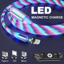 Magnetic LED Flowing UP Phone Charging Cable Charger Type C Micro USB 3IN1 $5.10