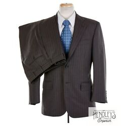 BROOKS BROTHERS GOLDEN FLEECE Suit 38 S Coffee Brown Sky Pinstriped Wool 2 pc $199.99