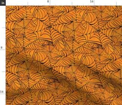 Orange Party Fall Halloween Spider Web Automn Spoonflower Fabric by the Yard $22.00