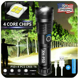 90000LM Super Bright LED Tactical Flashlight Zoomable With Rechargeable Battery $10.99