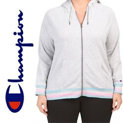 CHAMPION Plus Heritage French Terry Zip Hoodie Womens Size 1X Gray Pastel NWT $14.80