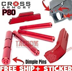 Cross Armory Red UPGRADE Parts P80 Glock Extended Magazine Catch Slide Pins $49.95
