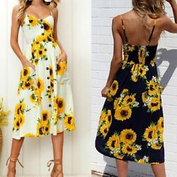 Women#x27;s Summer Boho Sunflower Maxi Dress Sleeveless Slip Dress Beach Sundress $13.01