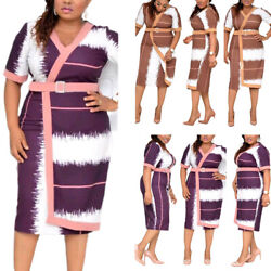 Womens Africa Print V Neck Short Sleeve Belt Midi Wrap Dress Casual Plus Dresses $52.29