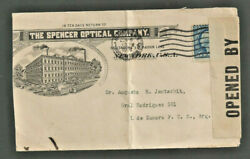 1918 censored US commercial cover NY Zamora FCS Argentina Spenser Optical