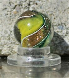 Quality Marbles green and yellow ribbon Lutz marble VER246 $190.00
