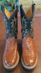 Men's Justin Full Quill Brown Ostrich Boots Size 9D EUC Nice $250.00
