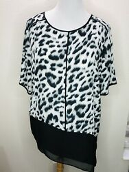 Womens Chico's Size 3 XL Black White Print Short Sleeve Top Blouse