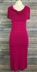 Vivienne Tam Knit Sweater Dress • Magenta Berry Pink Cowl Textured Long • Size S $44.99