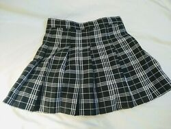 Black and White Plaid Pleated Kawaii Japanese School Girl Skirt for Teens $12.00
