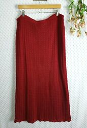 Maxi Skirt Plus Size Red Crochet Layered Stretch Boho 18 20 W 2X Womens Long $21.24