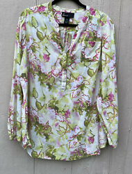 Lane Bryant Women Green Floral Long Sleeve Lightweight Popover Top Plus Size 18 $16.99