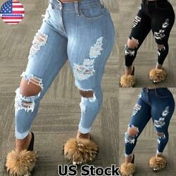 WOMEN LADIES GIRLS HIGH WAISTED DISTRESSED RIPPED SLIM SKINNY JEANS DENIM PANTS $27.49