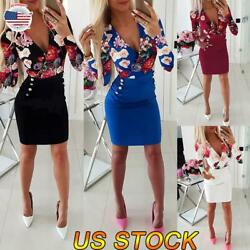 Womens Floral Bodycon Mini Dress Sexy Slim Evening Party Long Sleeve Mini Dress $17.38