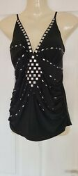Ladies Trendy Black silver Jewelled Top By Jaune Rouge Size 10 T2 GBP 3.50