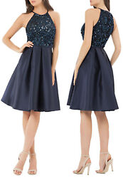 Carmen Marc Valvo Infusion Sequin Halter Cocktail Dress in Navy Blue Size 6 $24.99