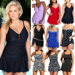Women Tankini Set Strappy Swimdress Swimsuit Swimwear Summer dresses Plus Size $19.47