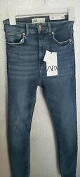 NWT Zara High Waisted Size 4 Jeans The 80s Skinny In Vintage Blue $29.99
