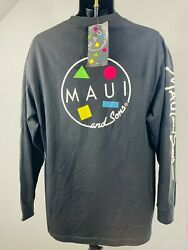 Maui And Sons Large Black Long Sleeve Pullover Shirt m17 $23.95
