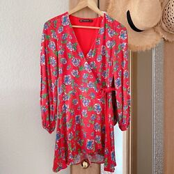 Zara red floral long sleeve wrap dress romper size XS $24.99