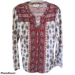 Style amp; Co Womens Top Blouse Size Small Beige Berry Blue Long Sleeve Boho $14.99