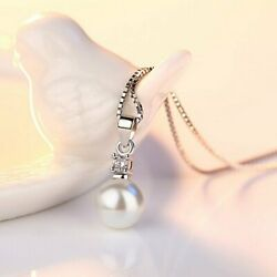 925 Silver Pearl Zirconia Crystal Pendant Necklace Chain Clavicle Women Wedding C $2.42