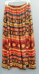 Vintage Skirt Full Pleated Elastic Waist Rayon Abstract Novelty Size XL $16.00