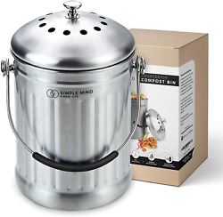 Stainless Steel Compost Bin With Lid Includes Charcoal Filter Silver $44.03