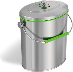 Stainless Steel Compost Bin With Lid Includes Charcoal Filter Silver $50.58