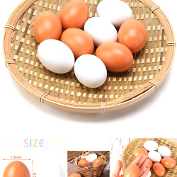 SallyFashion Easter Eggs Wooden Fake Eggs 9 Pieces 2 Colors $10.61