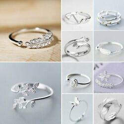 925 Silver Love Heart Feather Knuckle Ring Open Zircon Ring Women Adjustable Hot C $1.31