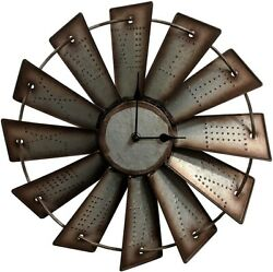 Windmill Wall Clock Western Rustic Home Decor Country 14.5quot; Farmhouse Gift $52.00