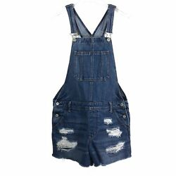 American Eagle Womens Cut Off Overalls M Medium Wash Tomgirl Shortall $44.99