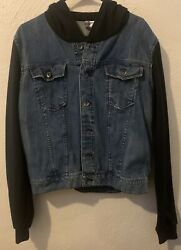 Divided Denim Jean Button Up Jacket With Black Sleeves Size Large
