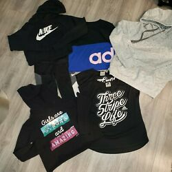 Girls Sz M 10 12 Clothing Lot 7 pieces Brand Names Adidas Nike Hollister Justice $60.00