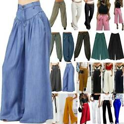 Ladies Womens Wide Leg Flared Palazzo Pants Loose Trousers Culottes Plus Size $18.33